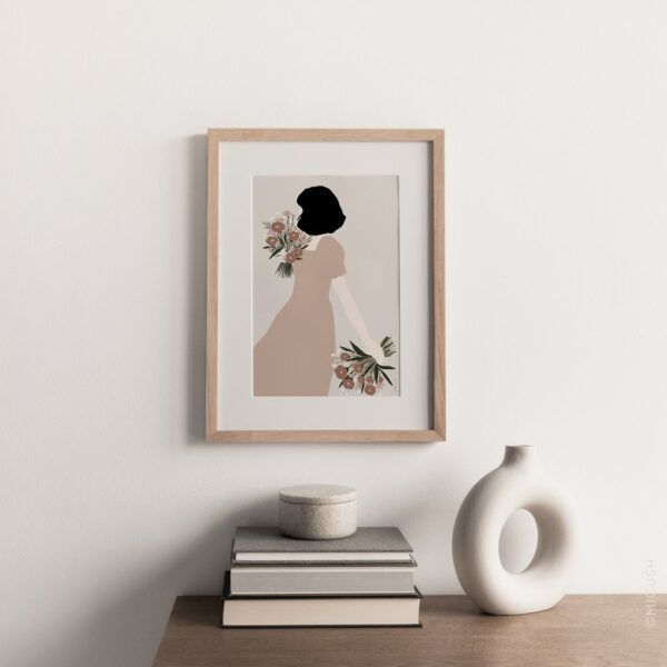 Flower Lady Double Bouquet Art Print