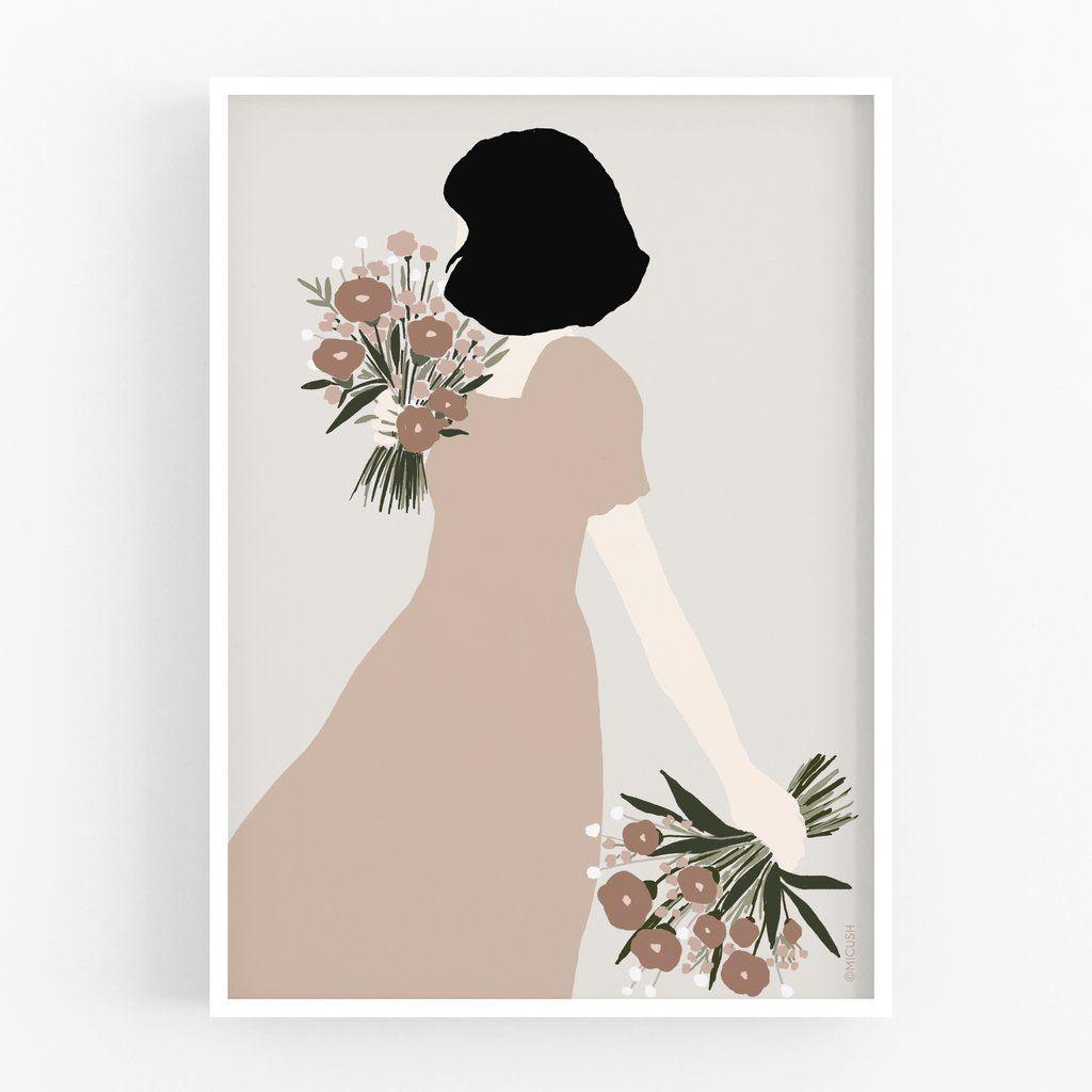 Flower Lady Double Bouquet Art Print