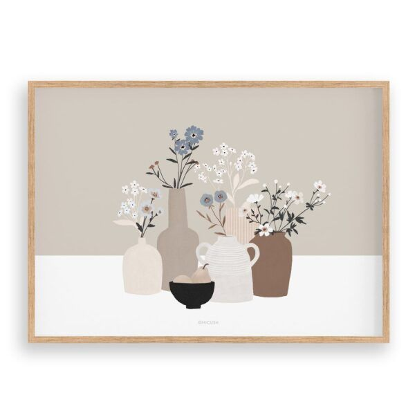 Light Brown Pottery And Flowers Art Print