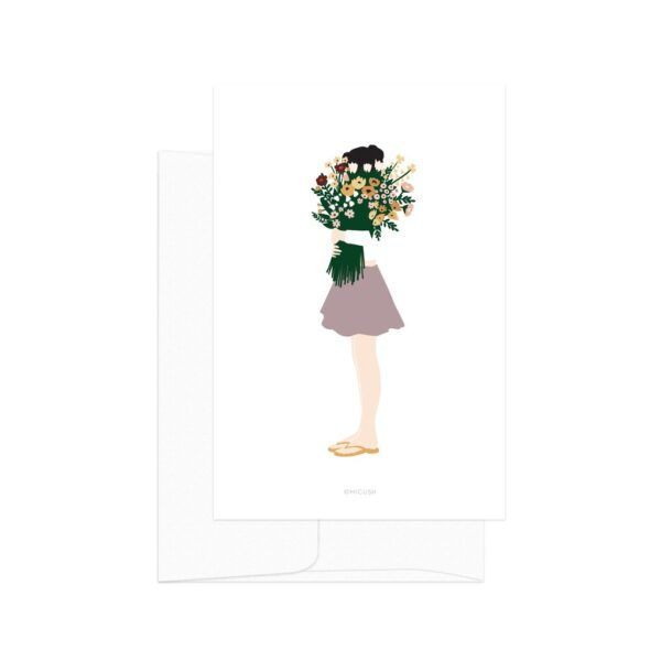 Modern Women Flower Lady Card