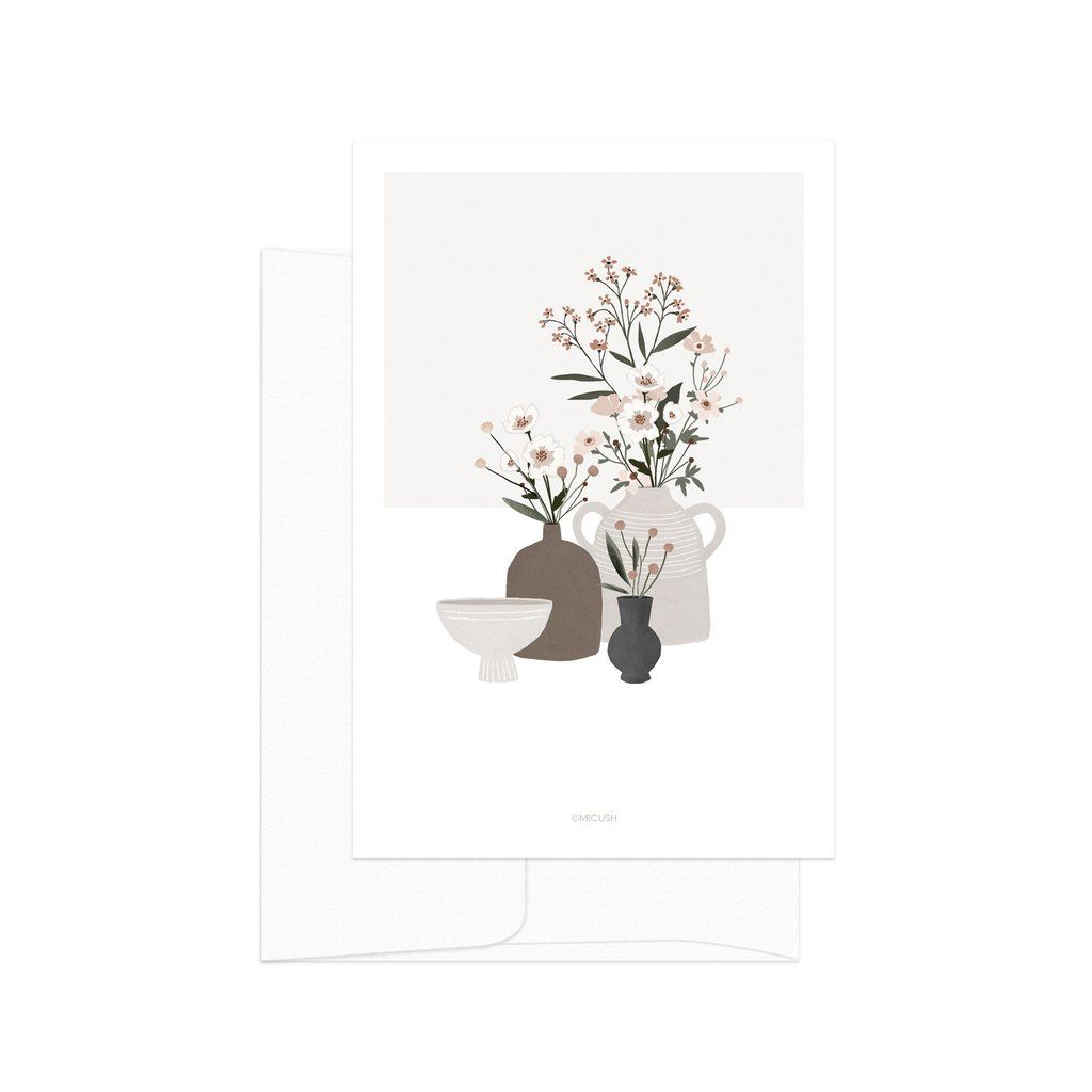 Beige Pottery And Flowers Card