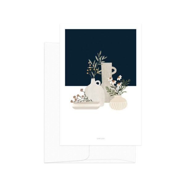 Dark Blue Pottery And Flowers Card