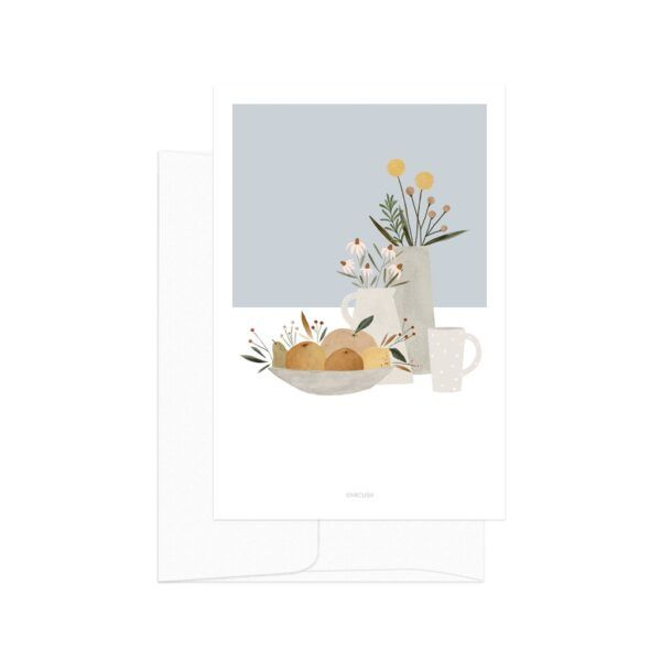 Light Blue Pottery And Flowers Card