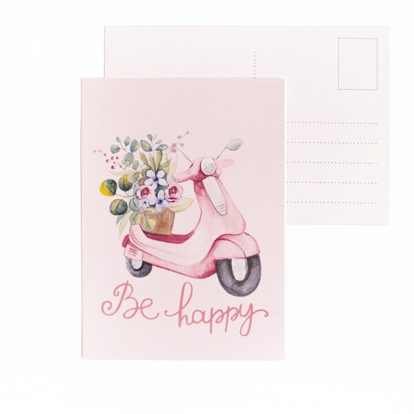 Be Happy Vespa Postcard