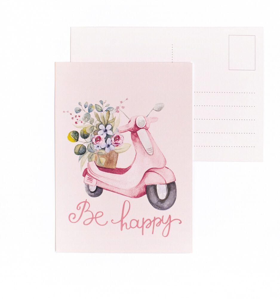 Be Happy Vespa Postcard