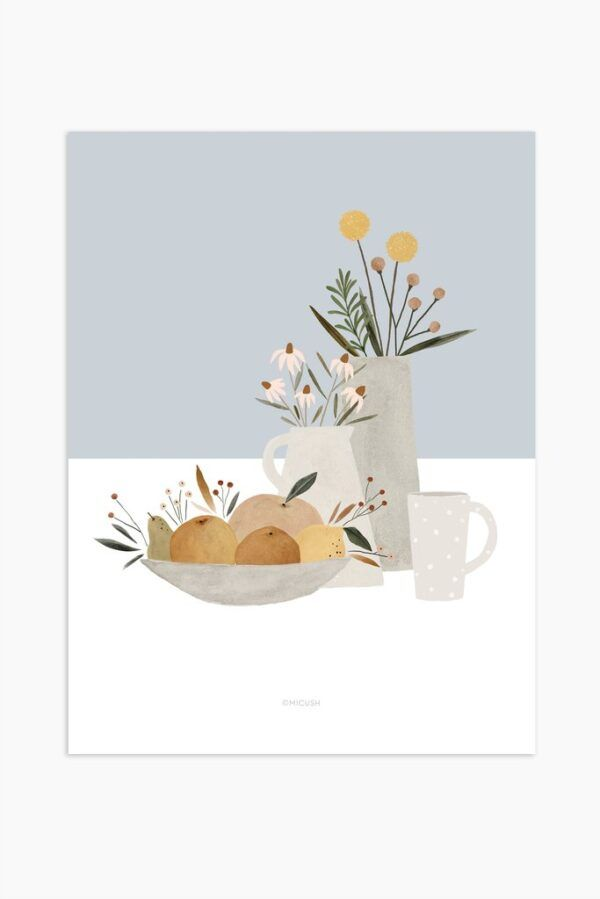 Light Blue Pottery And Flowers Art Print