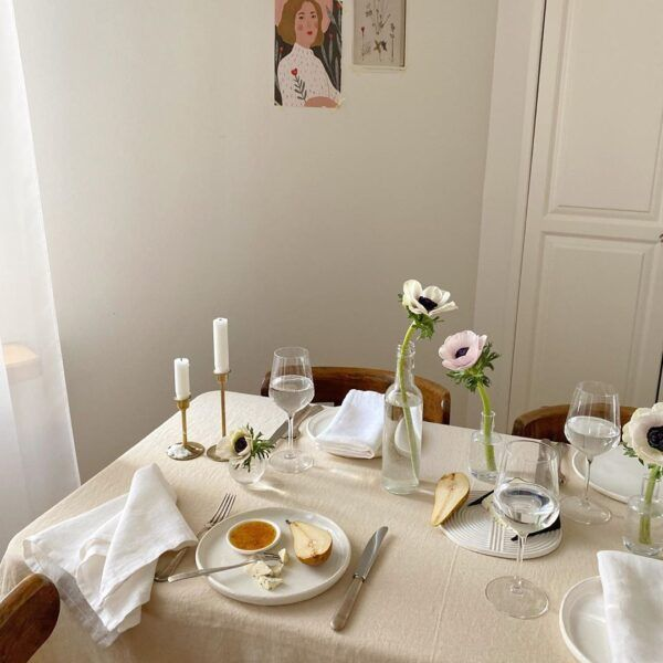 Cream Linen Tablecloth