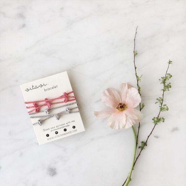 Crochet Floral Bracelet Set - Pink & Beige