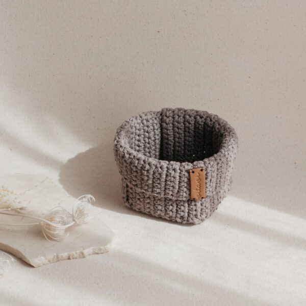 Small Handmade Crochet Basket - Brown