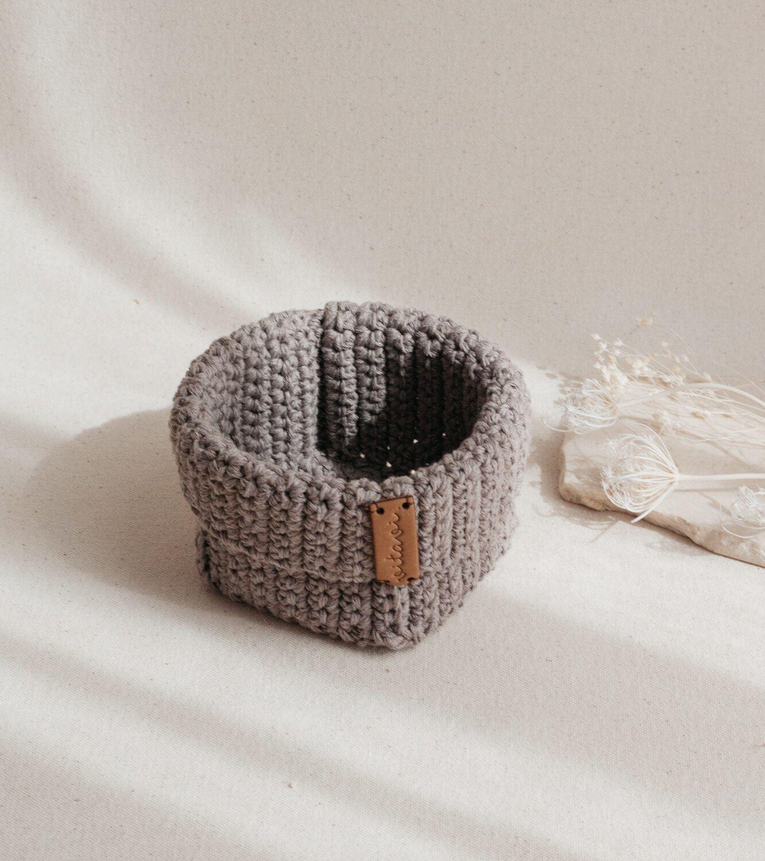 Small Handmade Crochet Basket - Brown