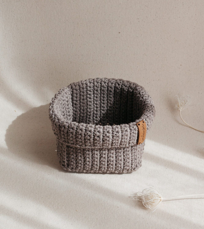 Medium Handmade Crochet Basket - Brown