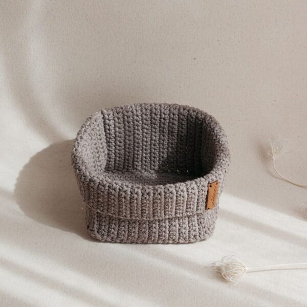 Medium Handmade Crochet Basket - Brown