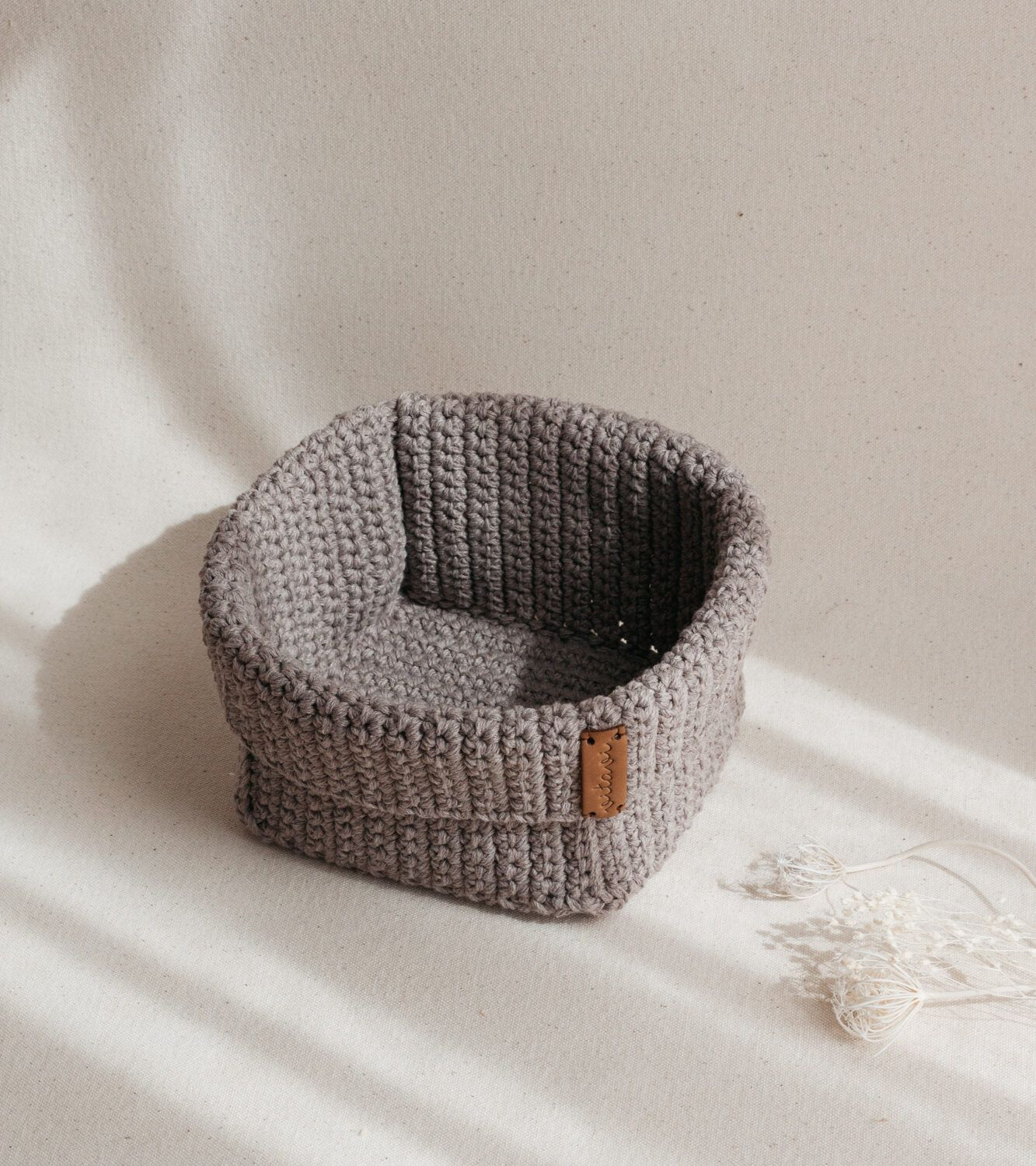 Big Handmade Crochet Basket - Brown