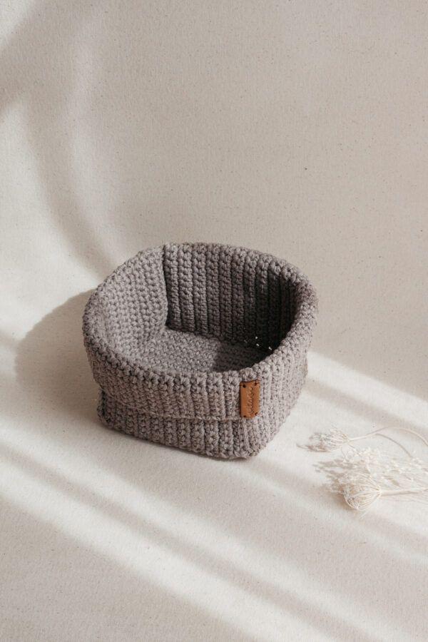 Big Handmade Crochet Basket - Brown