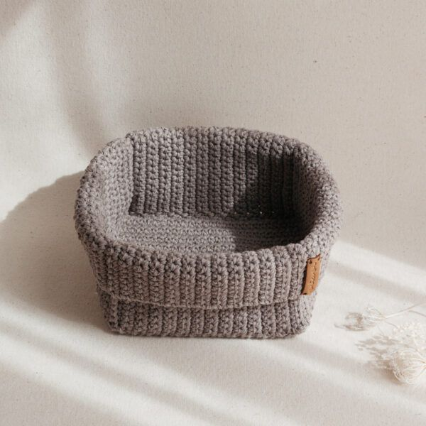 Large Handmade Crochet Basket - Brown