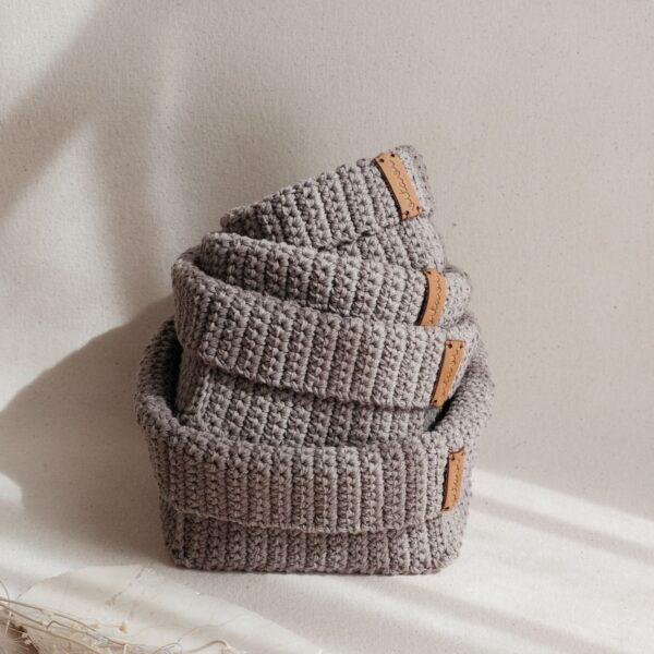 Set of 4 Crochet Baskets - Brown