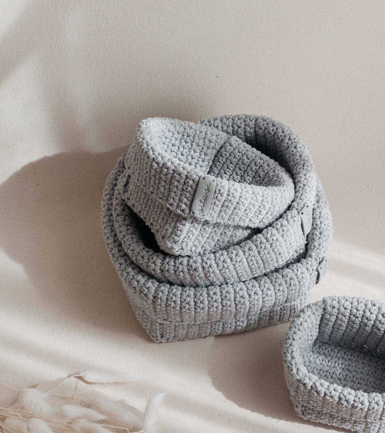 Set of 4 Crochet Baskets - Grey