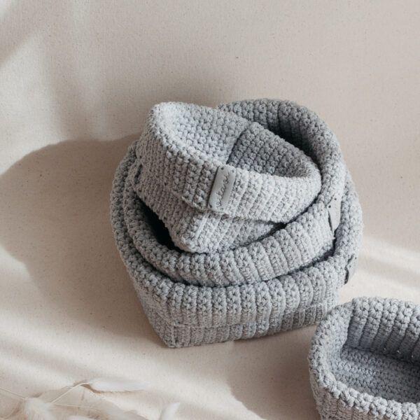 Set of 4 Crochet Baskets - Grey