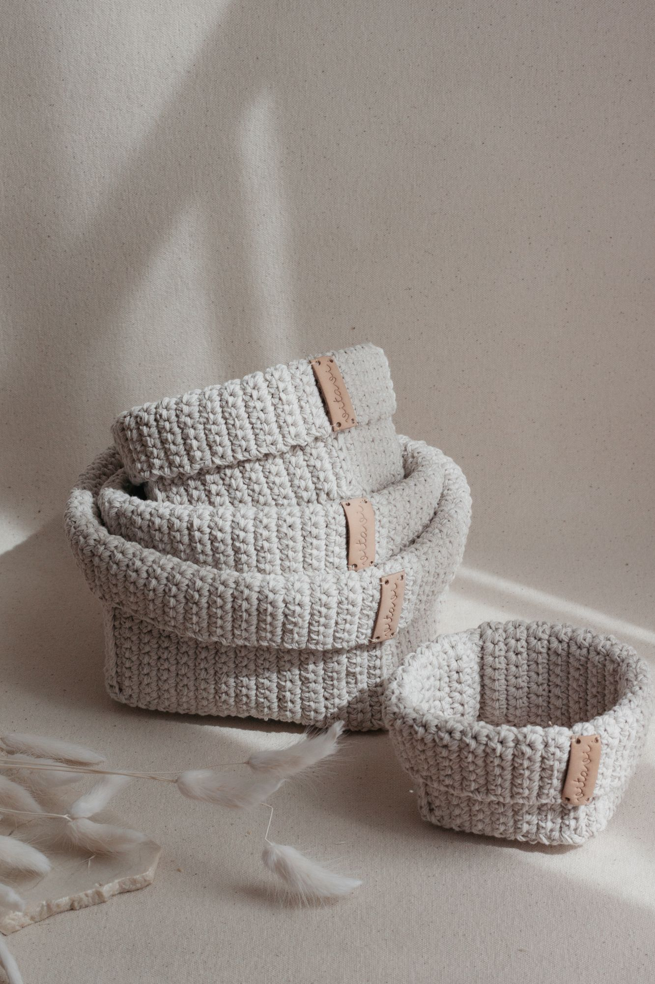 Set of 4 Crochet Baskets - Cream