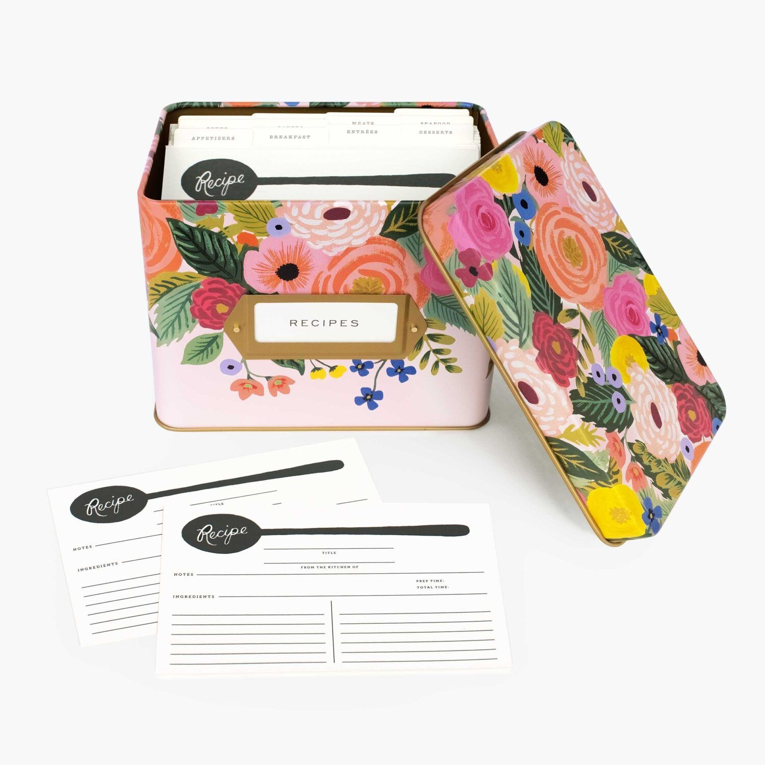 "Rifle Paper Co. ""Juliet Rose"" Tin Recipe Box"