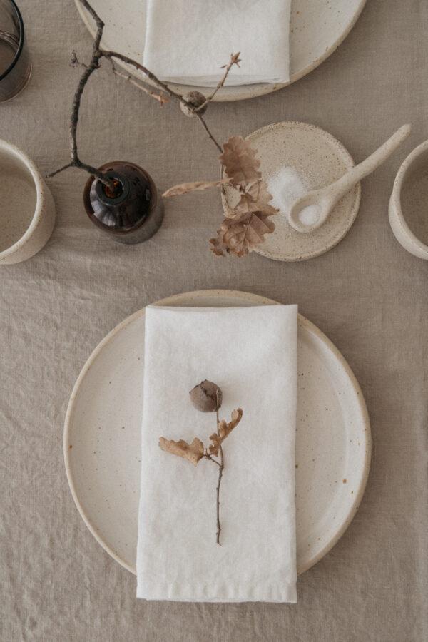 Handmade Ceramic Whitewashed Plate