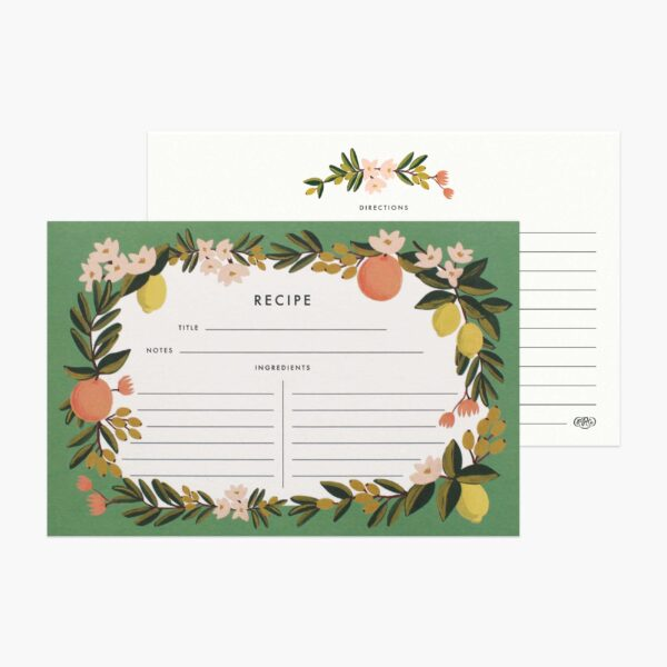 "Rifle Paper Co. ""Citrus Floral"" Recipe Card Set of 12"