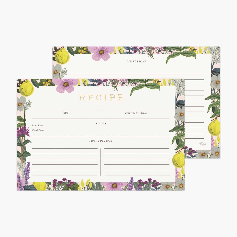 "Rifle Paper Co. ""Herb Garden"" Recipe Card Set of 12"