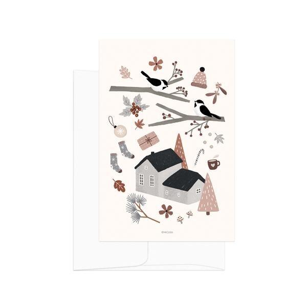 Christmas Birds Postcard