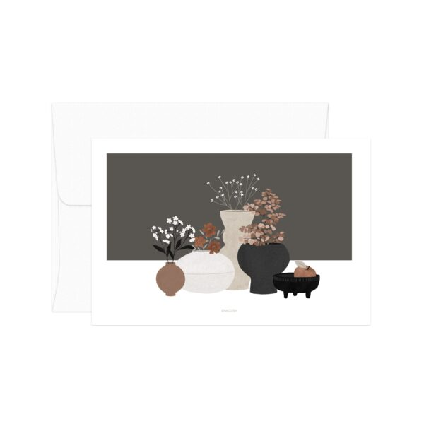 Brown Pottery And Flowers Card