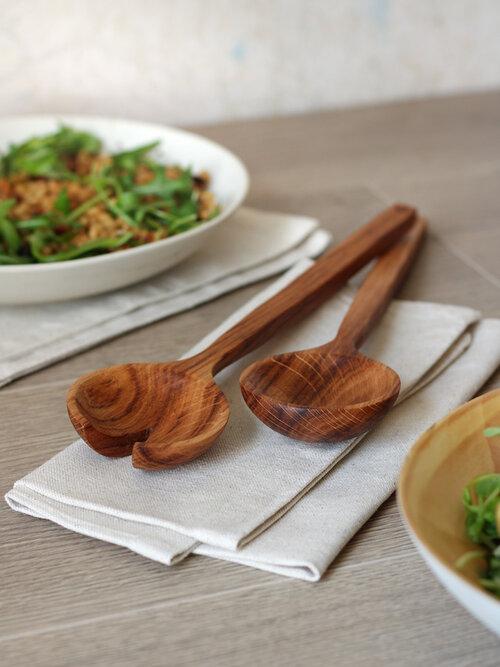 Selwyn House Brown Oak Salad Servers