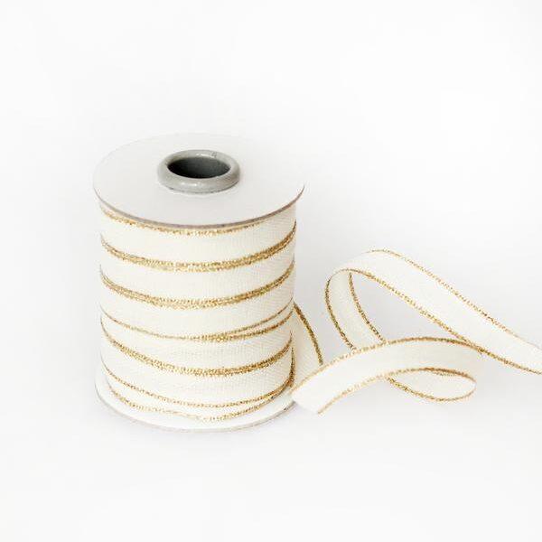 Studio Carta Drittofilo Cotton Ribbon - Natural & Gold