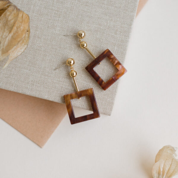 Chocolate Square Earrings