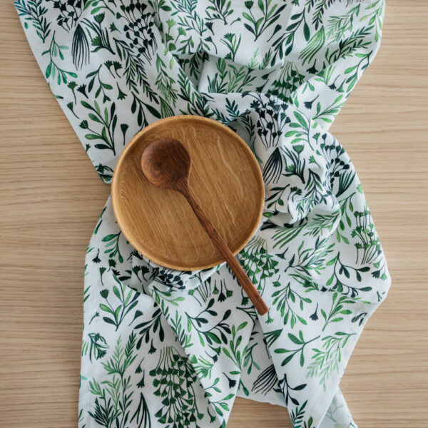 """My Green Leaves"" Print Tea Towel"