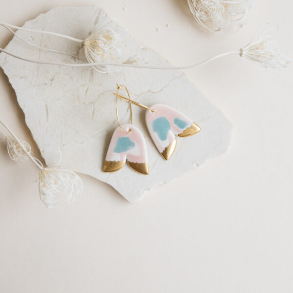 Marinski Bellflower Porcelain Earrings - Mint & Blush