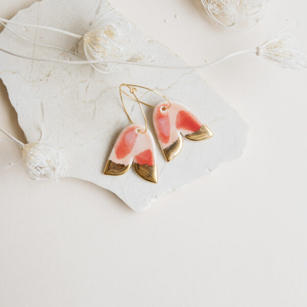 Marinski Bellflower Porcelain Earrings - Red & Blush