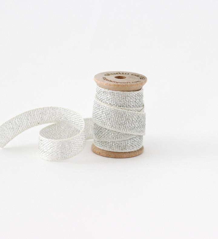 Studio Carta Metallic Loose Weave Cotton Ribbon, 3 meters - Silver