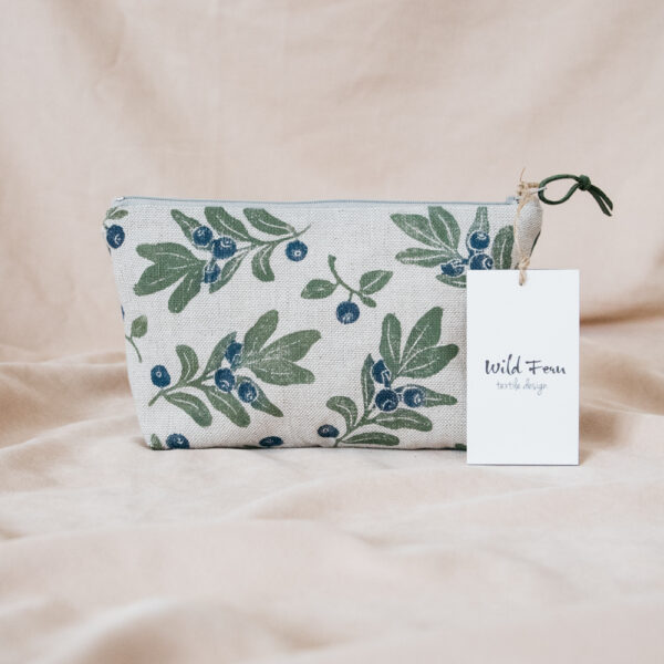 """Blueberry"" Hand-Printed Linen Beauty Pouch"