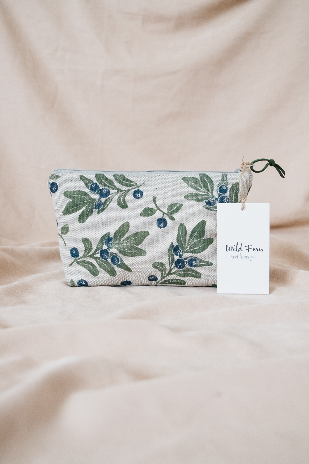 """""""Blueberry"""" Hand-Printed Linen Beauty Pouch"""