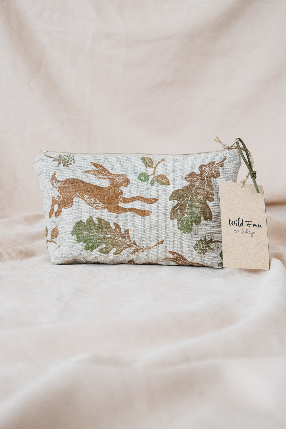 """Hare"" Hand-Printed Linen Beauty Pouch"