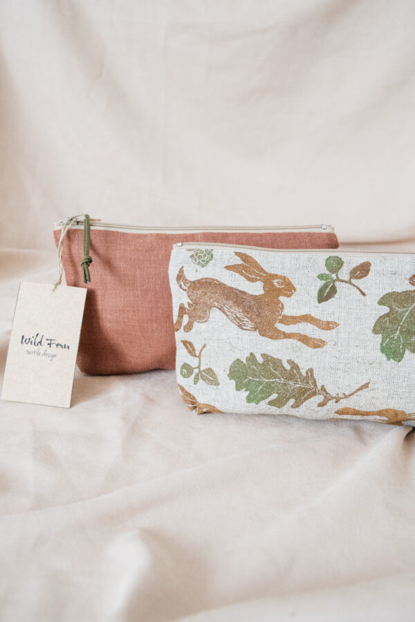 """""""Hare"""" Hand-Printed Linen Beauty Pouch"""