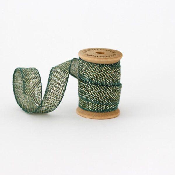 Studio Carta Metallic Loose Weave Cotton Ribbon - Jade & Gold