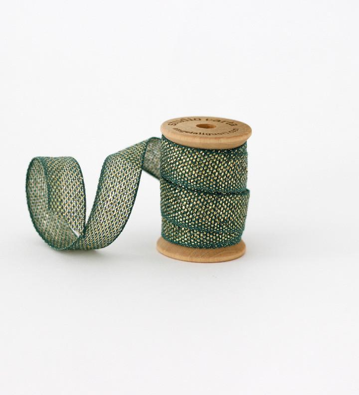 Studio Carta Metallic Loose Weave Cotton Ribbon - Jade & Gold
