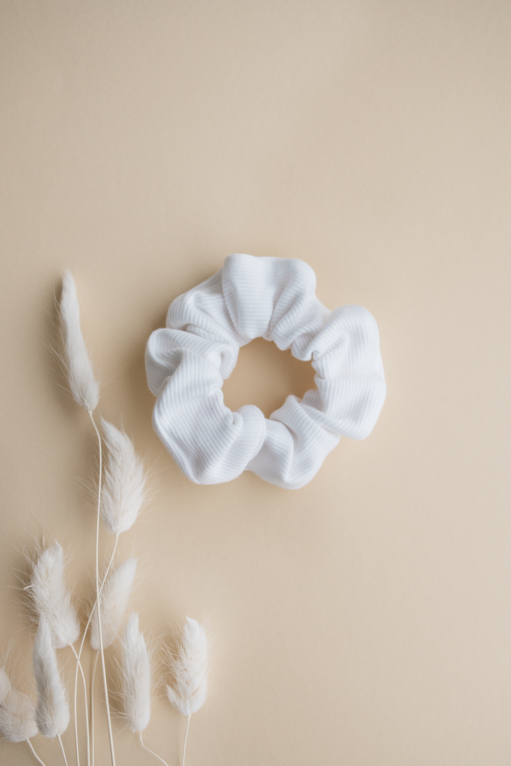 White Rib Cotton Scrunchie