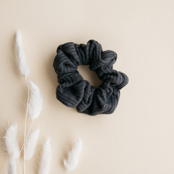 Gray Rib Cotton Scrunchie