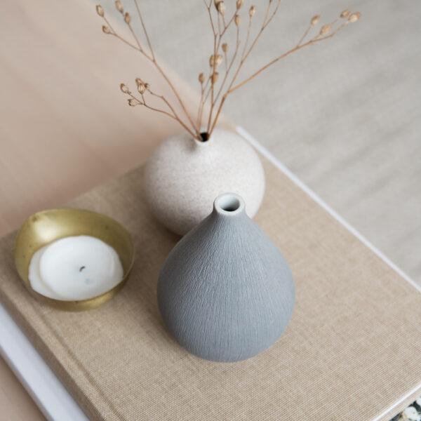 Kobe Ceramic Vase - Light Gray