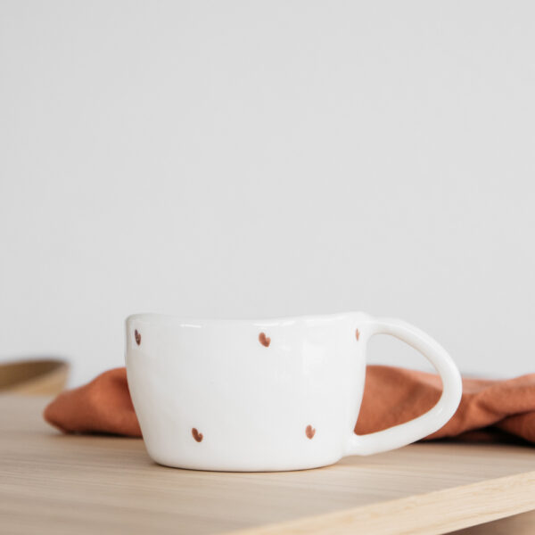 Terra Handmade Ceramic Mug - Red Hearts