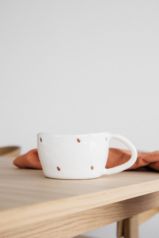 Terra Handmade Ceramic Mug - Red Hearts