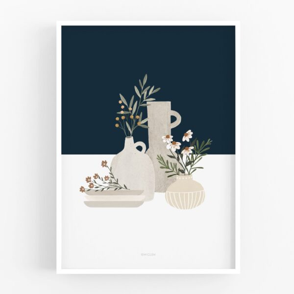 Dark Blue Pottery And Flowers Art Print