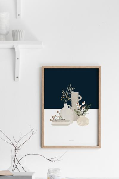 Dark Blue Pottery And Flowers Art Print
