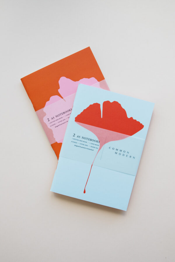 "Common Modern ""Ginkgo Pop"" A5 Notebook Duo Lines + Dots Set"